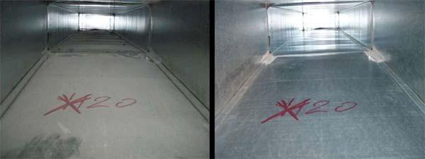 interno del canale prima e dopo la pulizia